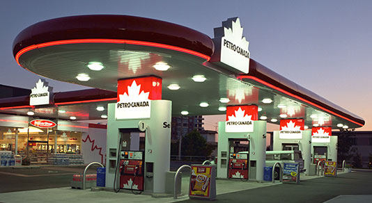 Petro-Canada gas station at night
