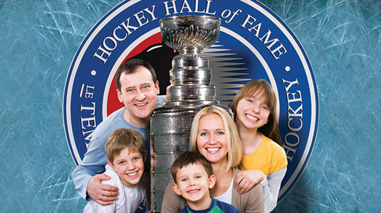 Family posing at the Hockey Hall of Fame