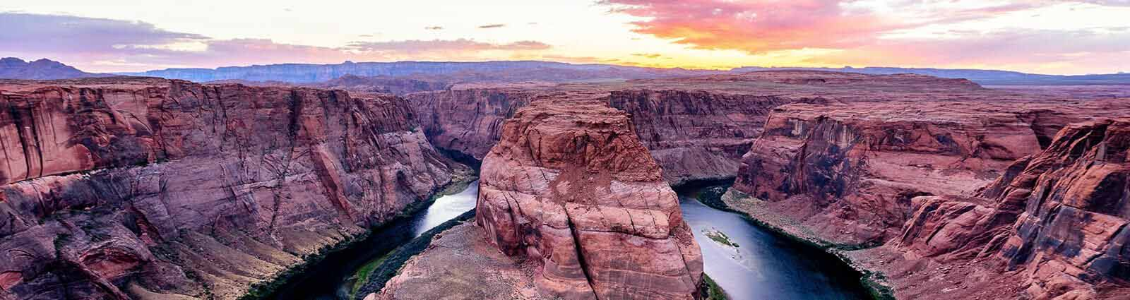 Horseshoe Bend At Sunset, Colorado River, Arizona
