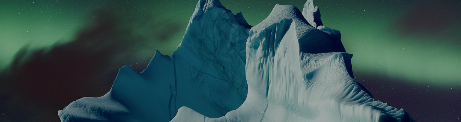 The northern lights over icebergs.