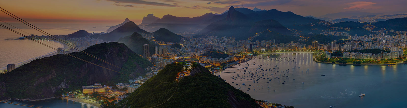 Sunset in Rio de Janeiro, Brazil on the Sugar Loaf Mountain.