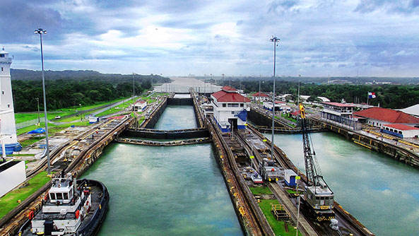 High Angle View Of Panama Canal