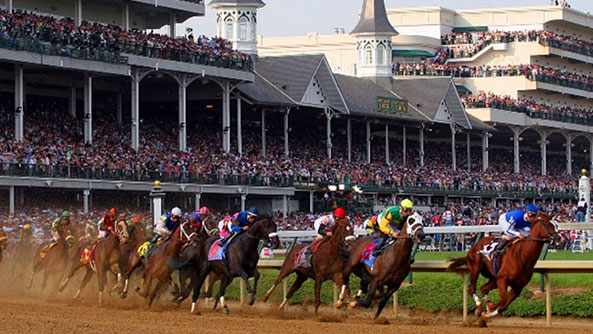 Horse racing on a race track in Louisville, Kentucky