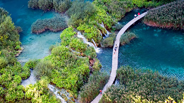 Aerial view of Plitvice Lakes, Croatia