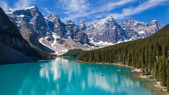 Moraine Lake and the valley of the ten peaks in the Canadian Rockies