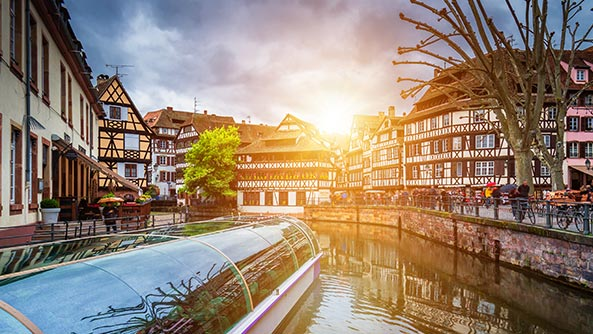 Traditional colorful houses in La Petite France, Strasbourg