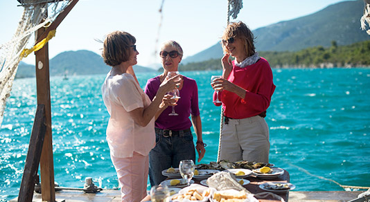 Women drinking wine in Croatia