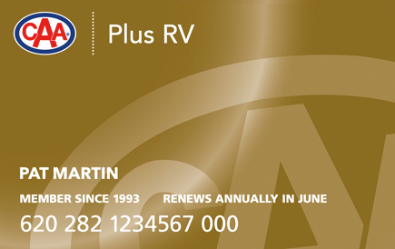 Gold CAA Plus RV Membership card