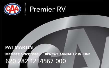 Black CAA Premier RV Membership card