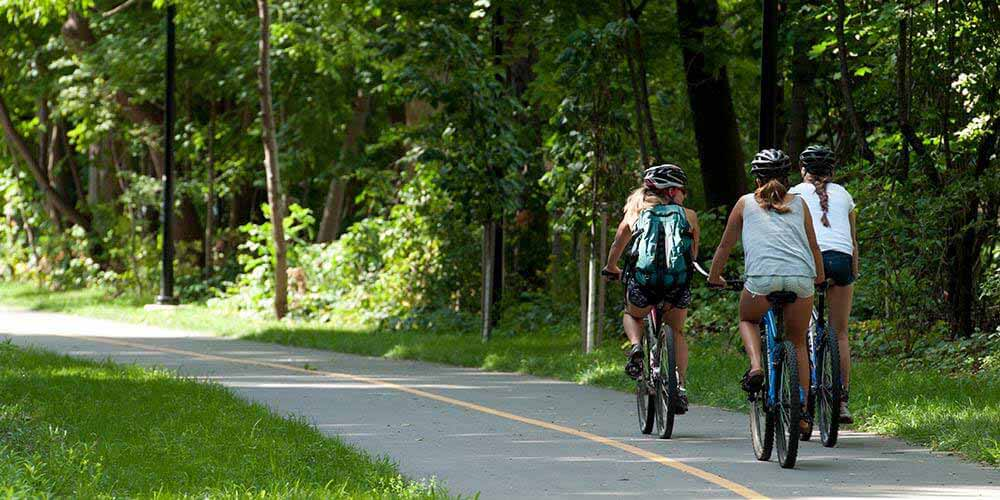 Cycling on the Spurline Trail in Waterloo Ontario