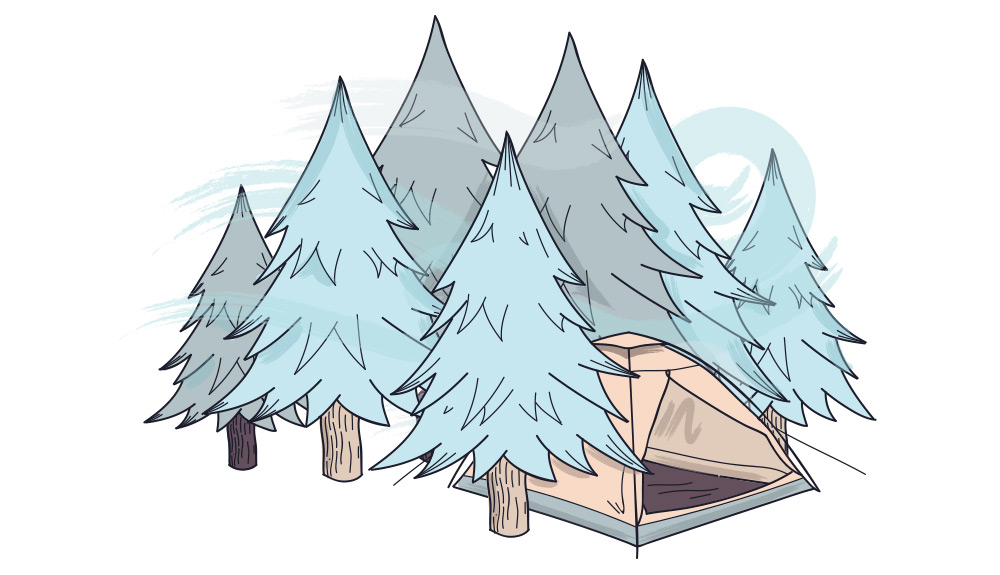 Winter Camping Tent in Trees
