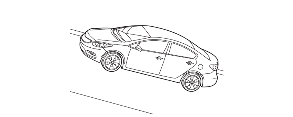 Illustration of car accelerating uphill