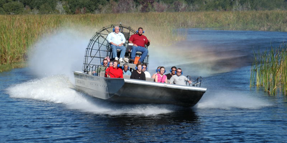 Tourists on Boggy Creek Airboat Ride