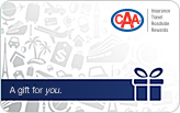 CAA gift card which has a white background with faded illustrations of dollar, vacation, car etc. and a CAA logo on top right corner.