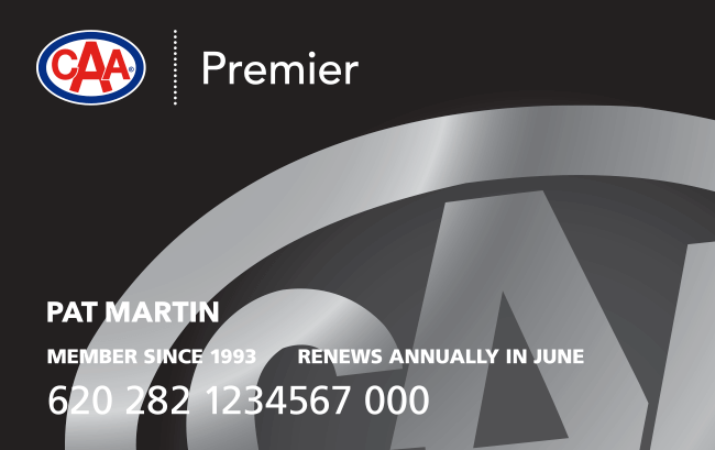 Black CAA Premier Membership card.
